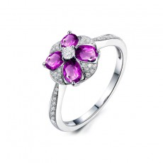 Amethyst Flower Sterling Silver Rings for her