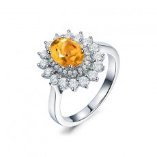 Natural Citrine Engagement Rings Sunflower Style Sterling Silver