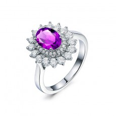 Natural Amethyst Engagement Rings Sunflower Style Sterling Silver
