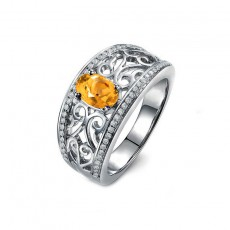 Natural Citrine Engagement Ring Hollow Style Sterling Silver