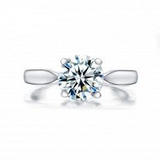 2 Carat Sona Diamond Ring Round Cut Classic Four Claws Design