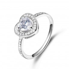 Heart Cut Sterling Silver Rings Engagement Rings with CZ