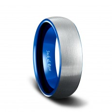 Mens Tungsten Carbide Wedding Bands with Blue Two Tone Brushed