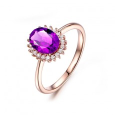 Rose Gold Amethyst Engagement Ring in Sterling Silver