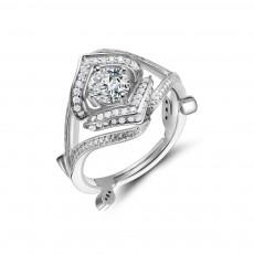 Princess Engagement Rings Vintage Style Vine Leaf Design
