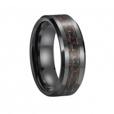 Mens Ceramic Wedding Rings with Red & Black Carbon Fiber