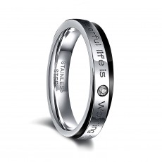 Mens Stainless Steel Wedding Rings Black Edge with CZ Inlay