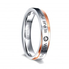 Stainless Steel Mens Rings Silver & Rose Gold with CZ