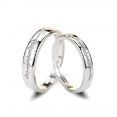Sterling Silver Couple Rings with Heartbeat Pattern