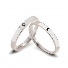 Sterling Silver Promise Ring Set Sun and Moon Style