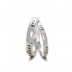 Heart Sterling Silver Commitment Rings Set for Couple