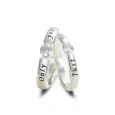 Sterling Silver his and her Rings Adjustable with CZ