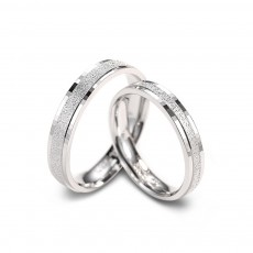 Matte Sterling Silver Engagement Rings for Couple