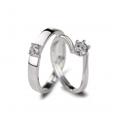Sterling Silver Cubic Zirconia Couple Wedding Rings