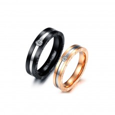 Black and Rose Gold Stainless/Titanium Steel Couple Rings