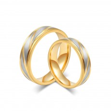 Silver and Gold Couple Rings in Stainless/Titanium Steel