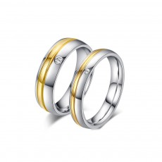 Stainless/Titanium Steel CZ Couple Rings Promise Rings