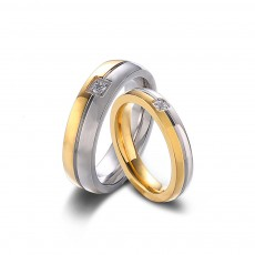 Gold and Silver CZ Couple Promise Rings