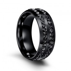 Black Stainless Steel Cubic Zirconia Rings
