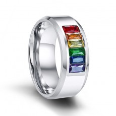 Fashion Crystal LGBT Stainless Steel Rings