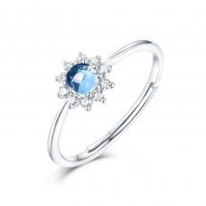 Sunflower London Blue Topaz Engagement Rings Adjustable