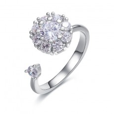Snowflake Cubic Zirconia Engagement Rings Adjustable in Sterling Silver