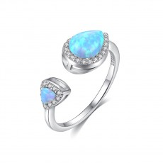 Blue Fire Teardrop Opal Ring Adjustable Vintage Style Engagement Rings