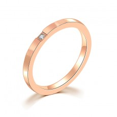 Stainless/Titanium Steel Wedding Bands Rose Gold Plated