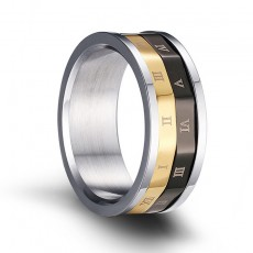Gold and Black Mens Stainless Steel Spinner Rings with Roman Numerals