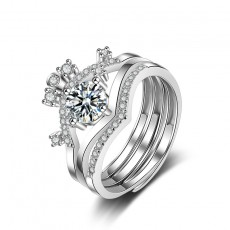 Sterling Silver Crown Rings Set Stackable Rings