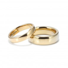 Simple Tungsten Carbide Couple Rings with Gold Plated 4mm 6mm