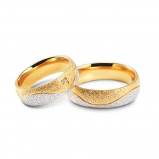 Gold and Silver Matching Couple Rings in Stainless/Titanium Steel