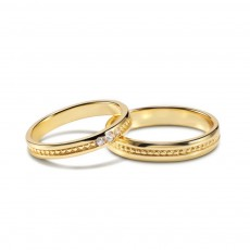 Simple Sterling Silver Ring Set for Couples
