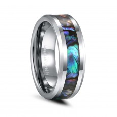 Tungsten Opal Ring for Men 8mm with Beveled Edge