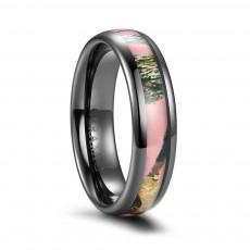 Black Ceramic Ring With Pink Camo Inlay
