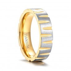 Gold Titanium Steel Rings Tapered Grooves