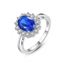 Blue Gemstone Wedding Rings Round Cut