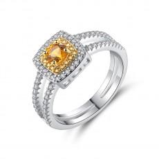 Yellow Gemstones Vintage Wedding Rings