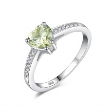 Green Sapphire Engagement Rings 925 Sterling Silver Rings