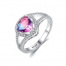 Coloured Stone Rings with Tiny Cubic Zirconia