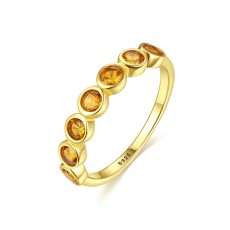 Eternity Ring with Yellow Gemstone Inlay Sterling Silver Rings