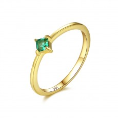 Emerald Solitaire Rings Gold Stone Rings