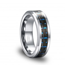 Black and Blue Carbon Fiber Inlay High Polish Men's Tungsten Wedding Band Ring 6mm 8mm