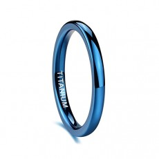 Blue Titanium Wedding Bands Domed Polished