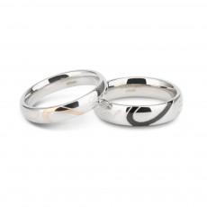 Love Heart His and Hers Matching Wedding Bands Cheap