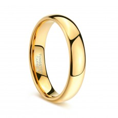 Mens Gold Tungsten Wedding Bands Domed High Polished