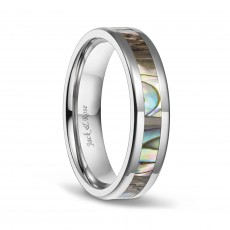 Abalone Shell Titanium Wedding Ring Sets for Men Women 6mm 8mm