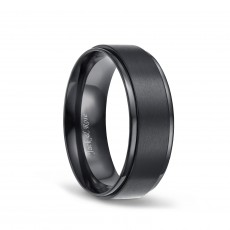 Mens Titanium Ring Black Matte Finished 8mm