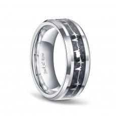Titanium Heartbeat Ring Black with Carbon Fiber Inlay
