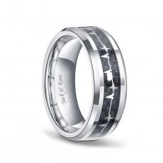 Titanium Heartbeat Ring Black with Carbon Fiber Inlay